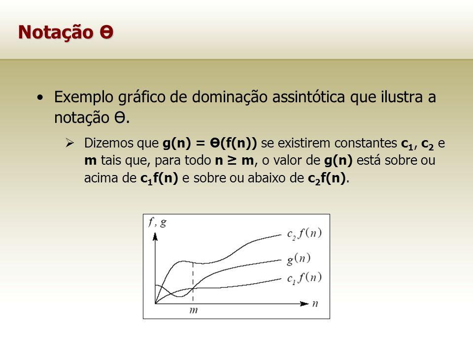 Notação Ө ӨExemplo gráfico de dominação assintótica que ilustra a notação Ө. Dizemos que g(n) = Ө(f(n)) se existirem constantes c 1, c 2 e m tais que,