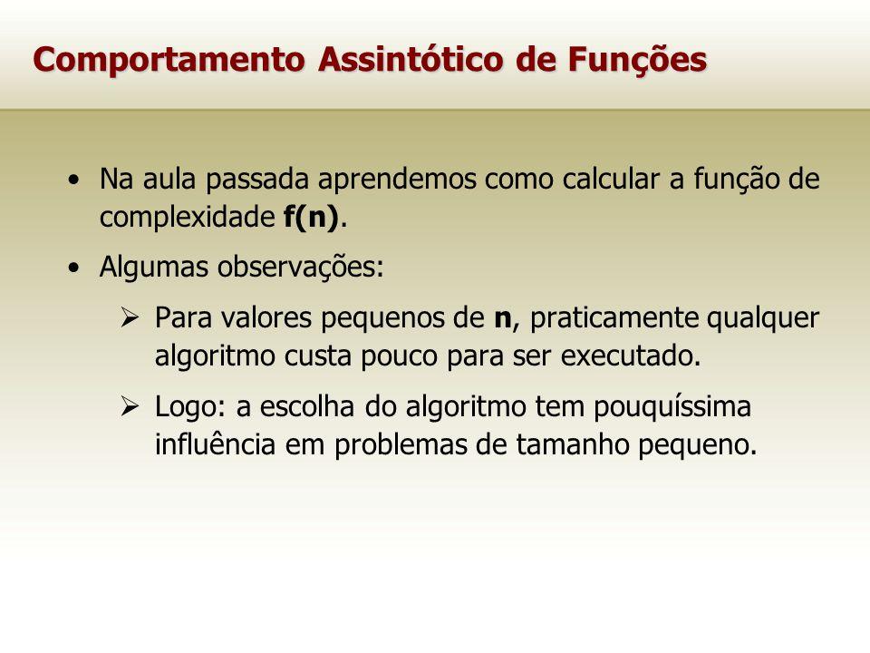 Comportamento Assintótico de Funções Na aula passada aprendemos como calcular a função de complexidade f(n). Algumas observações: Para valores pequeno