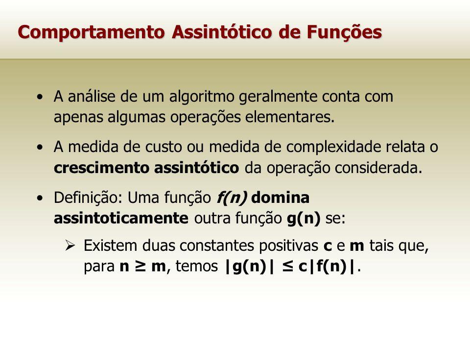 Comportamento Assintótico de Funções A análise de um algoritmo geralmente conta com apenas algumas operações elementares. A medida de custo ou medida