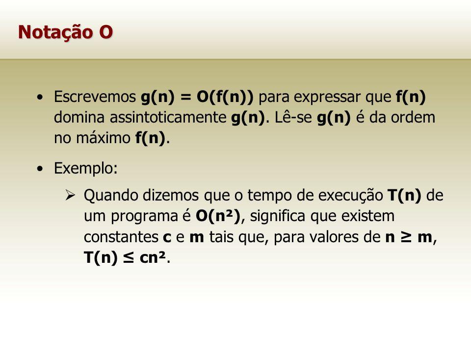 Notação O Escrevemos g(n) = O(f(n)) para expressar que f(n) domina assintoticamente g(n). Lê-se g(n) é da ordem no máximo f(n). Exemplo: Quando dizemo