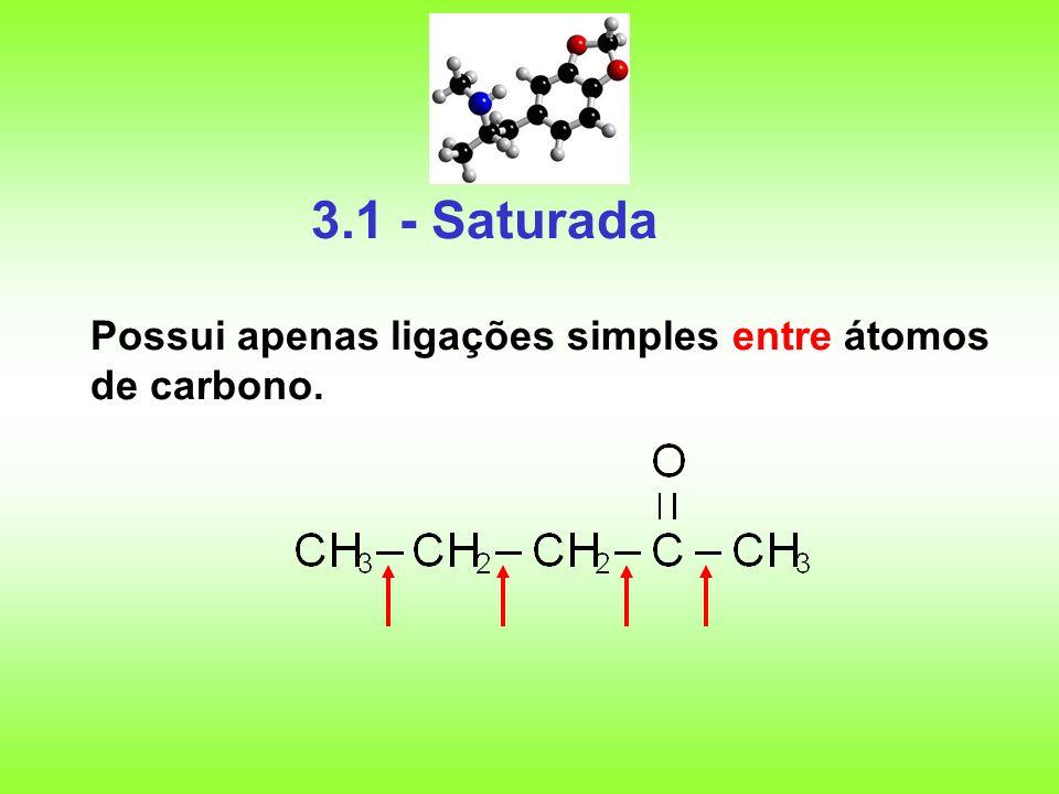 3.1 - Saturada Possui apenas ligações simples entre átomos de carbono.
