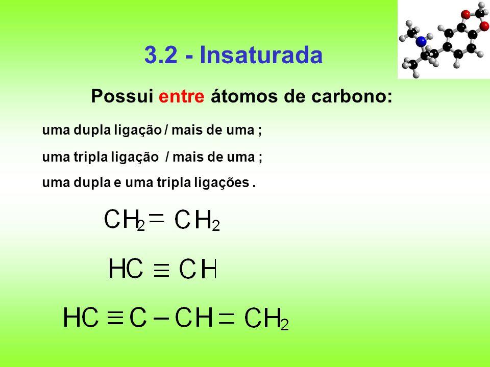 3.2 - Insaturada Possui entre átomos de carbono: uma dupla ligação / mais de uma ; uma tripla ligação / mais de uma ; uma dupla e uma tripla ligações.