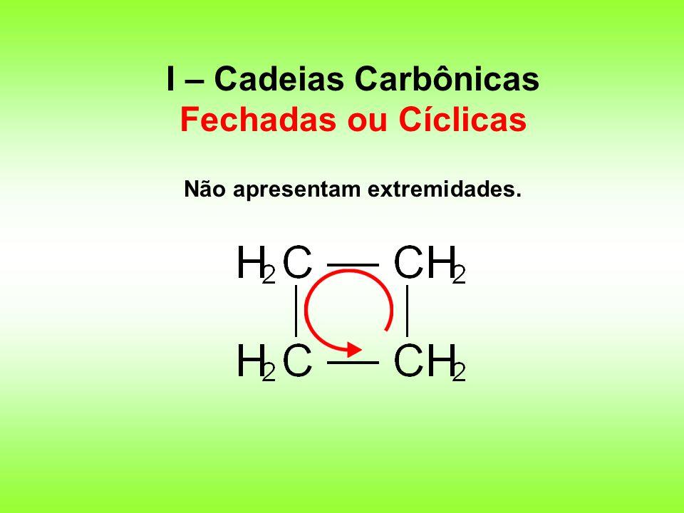 I – Cadeias Carbônicas Fechadas ou Cíclicas Não apresentam extremidades.
