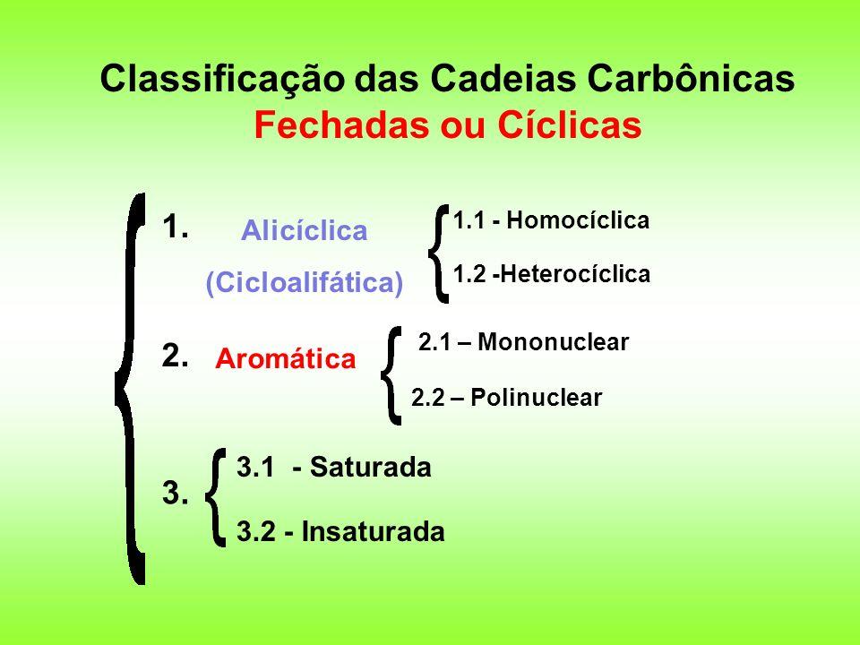 Classificação das Cadeias Carbônicas Fechadas ou Cíclicas 1. 2. 3. Alicíclica (Cicloalifática) Aromática 3.1 - Saturada 3.2 - Insaturada 1.1 - Homocíc