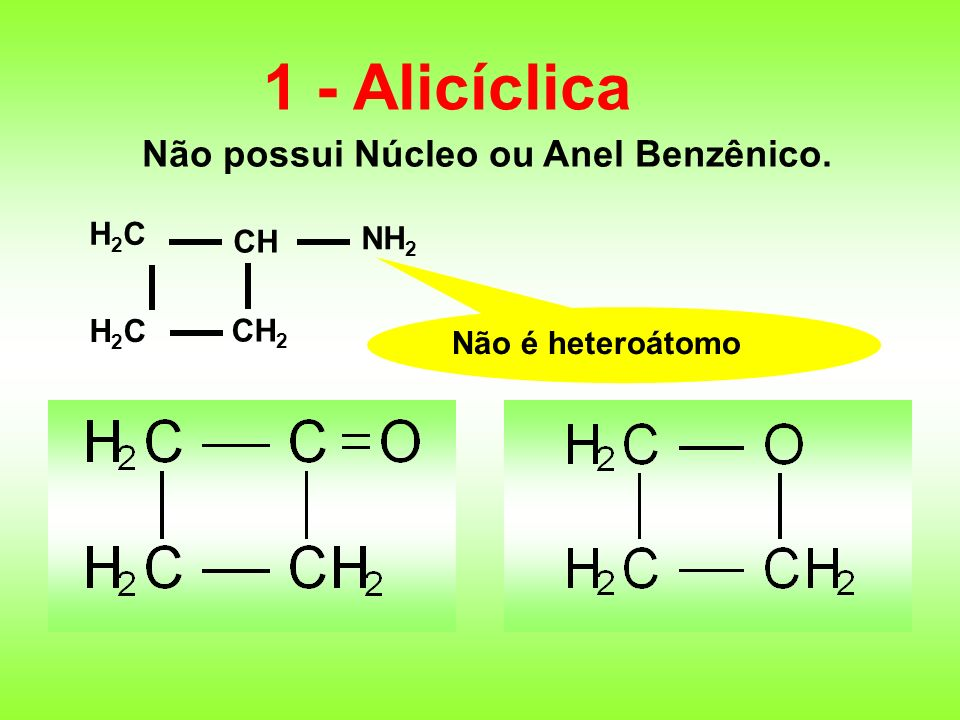 1 - Alicíclica Não possui Núcleo ou Anel Benzênico. CH CH 2 H2CH2C H2CH2C NH 2 Não é heteroátomo