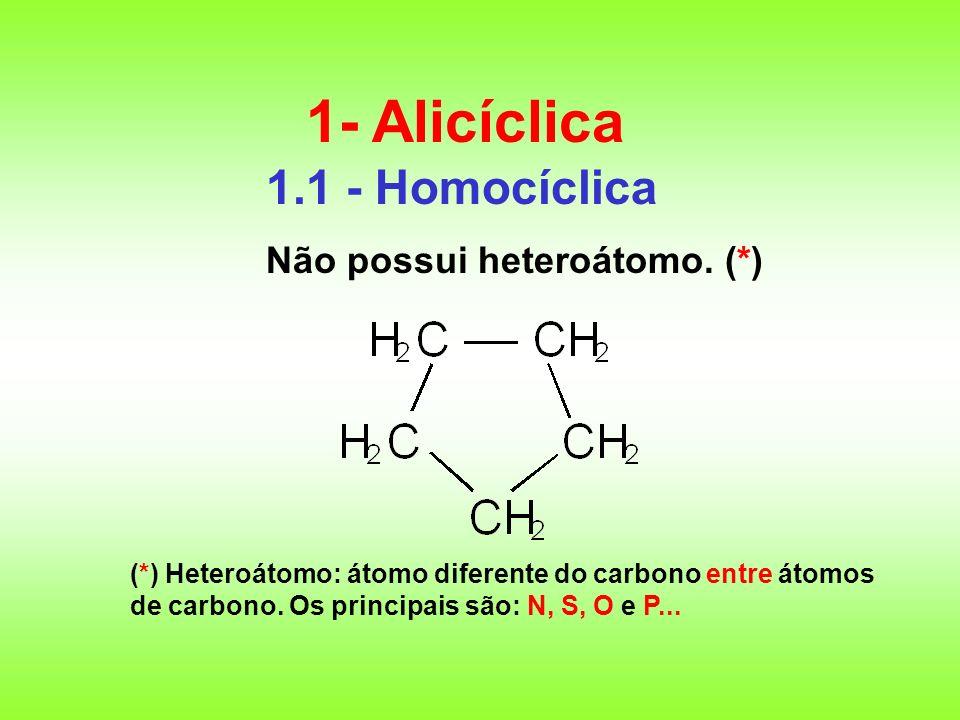 1.1 - Homocíclica Não possui heteroátomo. (*) 1- Alicíclica (*) Heteroátomo: átomo diferente do carbono entre átomos de carbono. Os principais são: N,