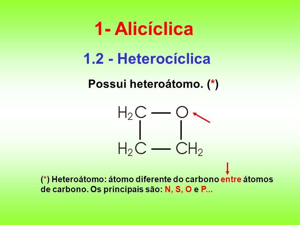 1.2 - Heterocíclica Possui heteroátomo. (*) 1- Alicíclica (*) Heteroátomo: átomo diferente do carbono entre átomos de carbono. Os principais são: N, S