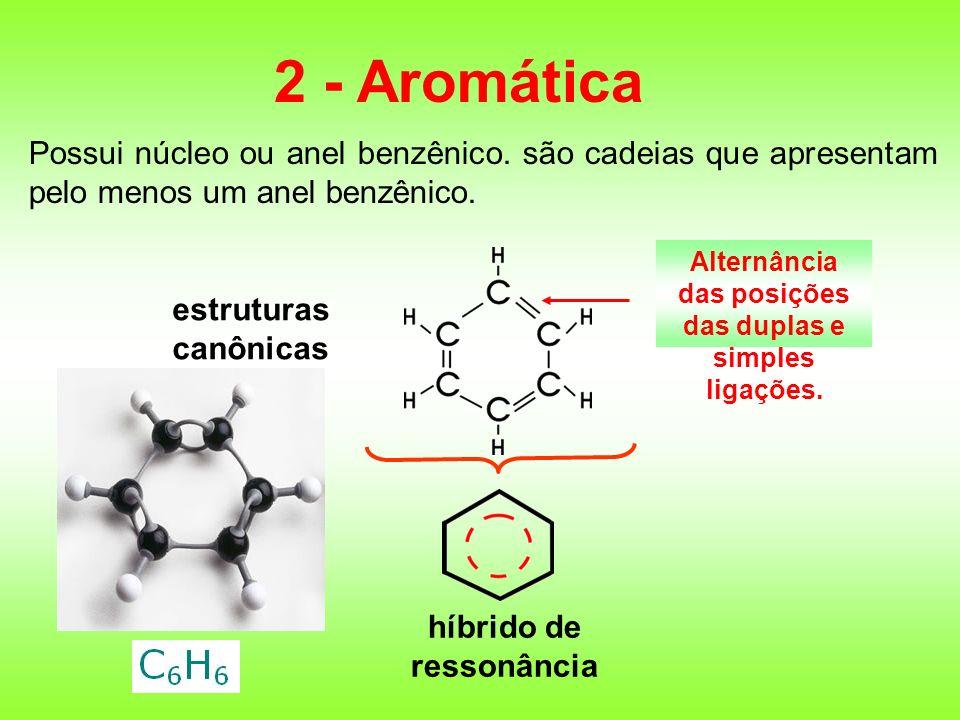 Possui núcleo ou anel benzênico. são cadeias que apresentam pelo menos um anel benzênico. 2 - Aromática estruturas canônicas híbrido de ressonância Al