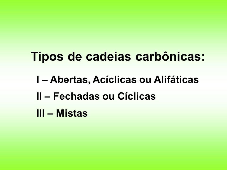 Tipos de cadeias carbônicas: I – Abertas, Acíclicas ou Alifáticas II – Fechadas ou Cíclicas III – Mistas