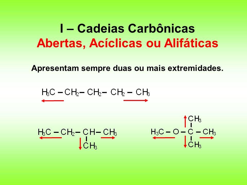 I – Cadeias Carbônicas Abertas, Acíclicas ou Alifáticas Apresentam sempre duas ou mais extremidades.