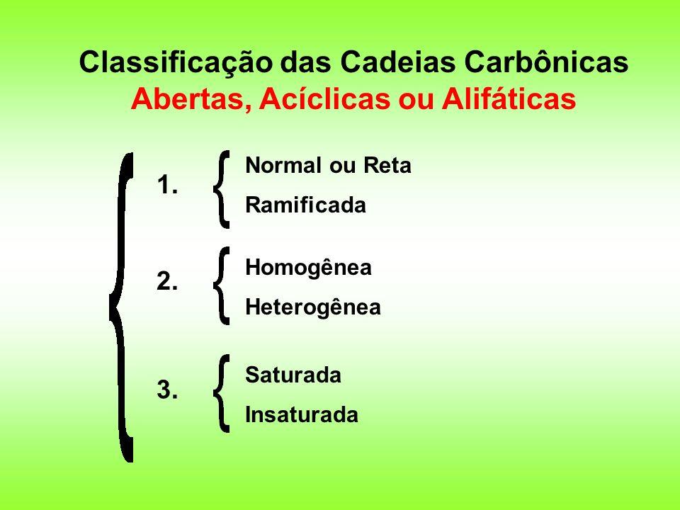 Classificação das Cadeias Carbônicas Abertas, Acíclicas ou Alifáticas 1. 2. 3. Normal ou Reta Ramificada Homogênea Heterogênea Saturada Insaturada