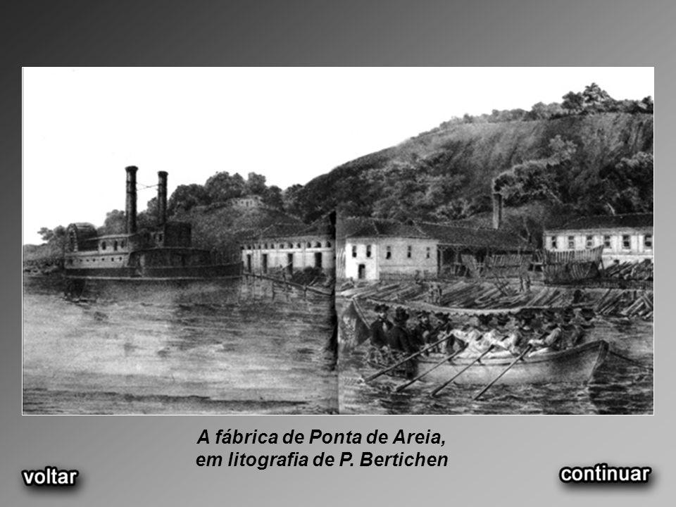 A fábrica de Ponta de Areia, em litografia de P. Bertichen