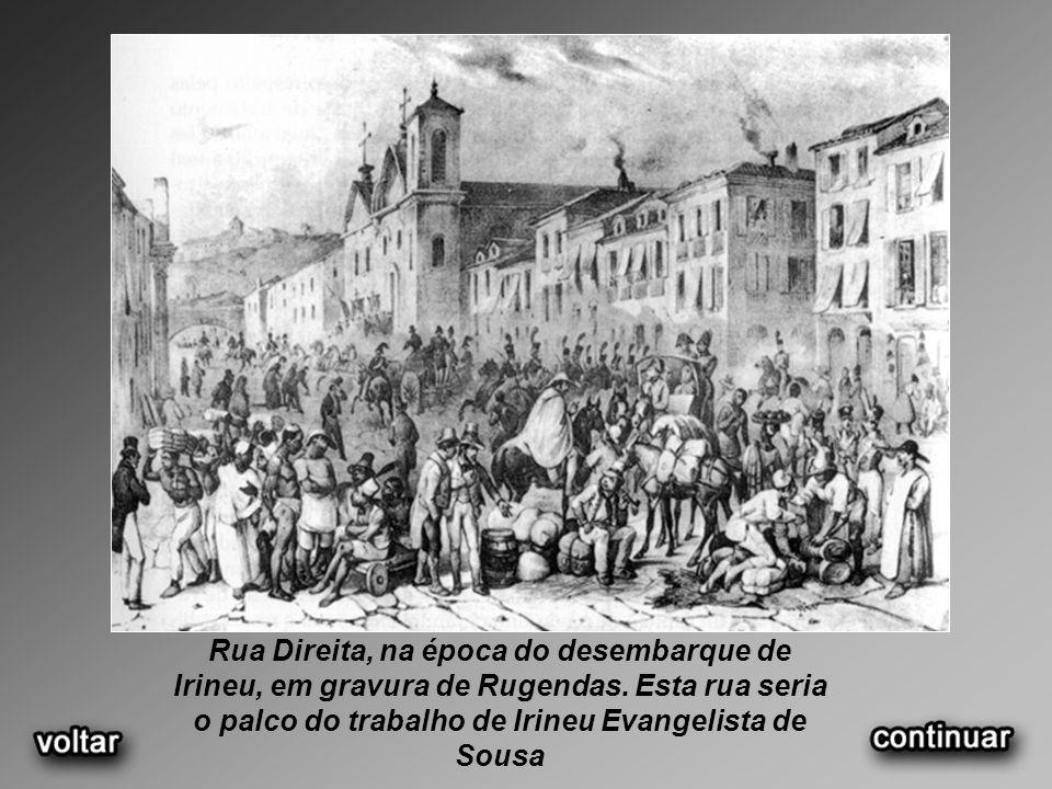 Rua Direita, na época do desembarque de Irineu, em gravura de Rugendas.