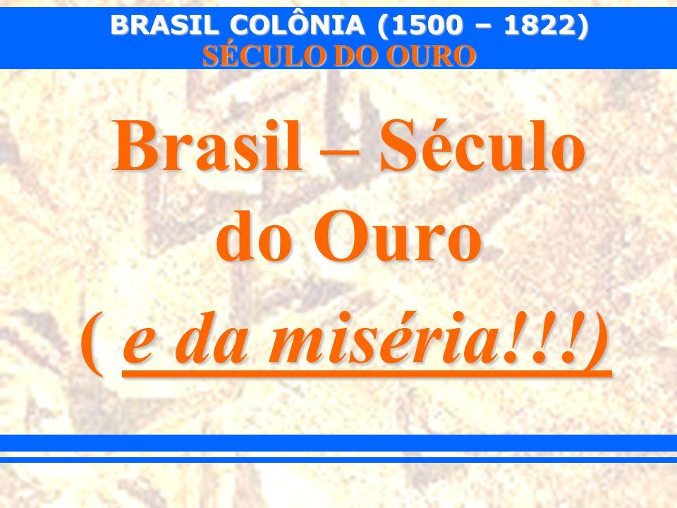 BRASIL COLÔNIA (1500 – 1822) SÉCULO DO OURO Os paulistas, na qualidade de descobridores das minas, reivindicavam para si o direito exclusivo de exploração do ouro.