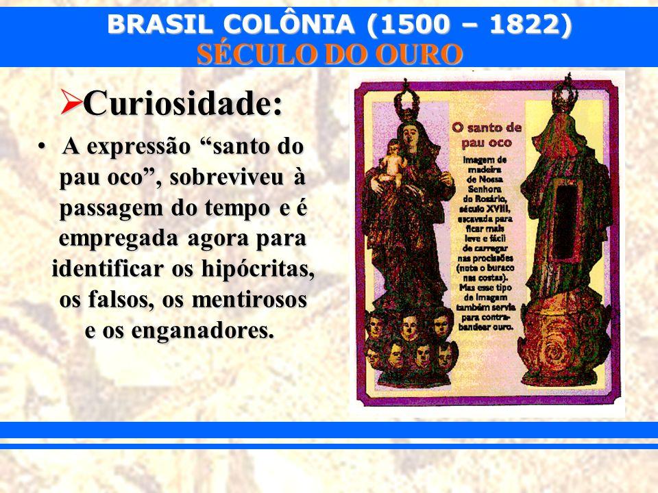 BRASIL COLÔNIA (1500 – 1822) SÉCULO DO OURO Curiosidade: Curiosidade: A expressão santo do pau oco, sobreviveu à passagem do tempo e é empregada agora