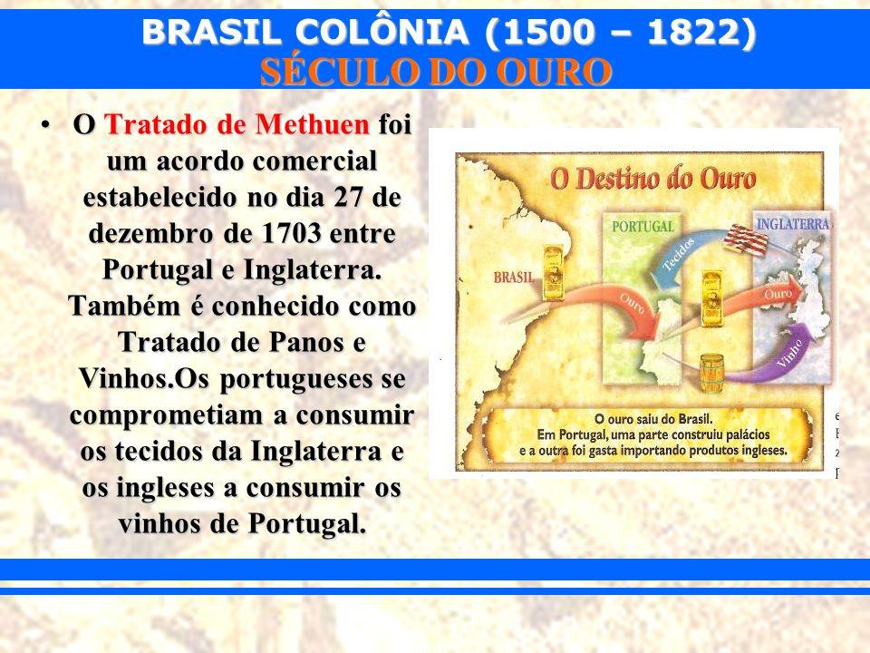 BRASIL COLÔNIA (1500 – 1822) SÉCULO DO OURO O Tratado de Methuen foi um acordo comercial estabelecido no dia 27 de dezembro de 1703 entre Portugal e I