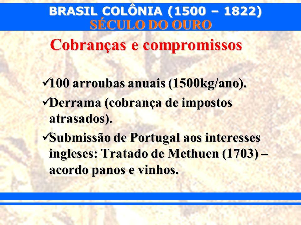 BRASIL COLÔNIA (1500 – 1822) SÉCULO DO OURO 100 arroubas anuais (1500kg/ano). 100 arroubas anuais (1500kg/ano). Derrama (cobrança de impostos atrasado