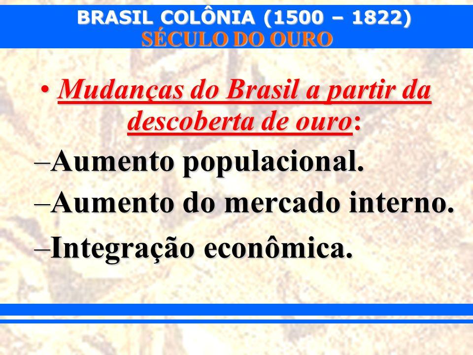 BRASIL COLÔNIA (1500 – 1822) SÉCULO DO OURO Mudanças do Brasil a partir da descoberta de ouro:Mudanças do Brasil a partir da descoberta de ouro: –Aume