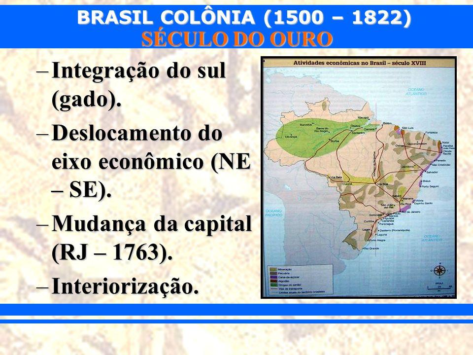 BRASIL COLÔNIA (1500 – 1822) SÉCULO DO OURO –Integração do sul (gado). –Deslocamento do eixo econômico (NE – SE). –Mudança da capital (RJ – 1763). –In