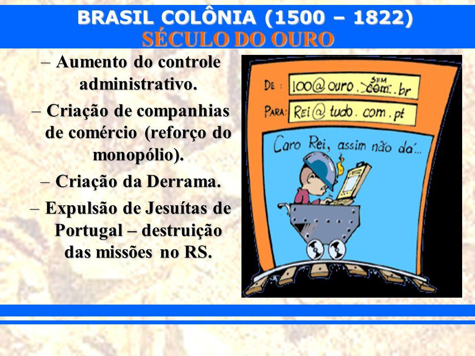 BRASIL COLÔNIA (1500 – 1822) SÉCULO DO OURO –Aumento do controle administrativo. –Criação de companhias de comércio (reforço do monopólio). –Criação d