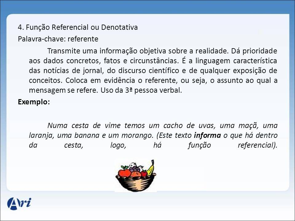 4. Função Referencial ou Denotativa Palavra-chave: referente Transmite uma informação objetiva sobre a realidade. Dá prioridade aos dados concretos, f