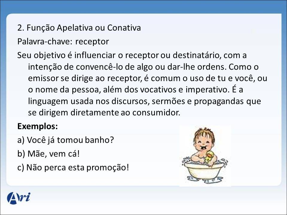 2. Função Apelativa ou Conativa Palavra-chave: receptor Seu objetivo é influenciar o receptor ou destinatário, com a intenção de convencê-lo de algo o