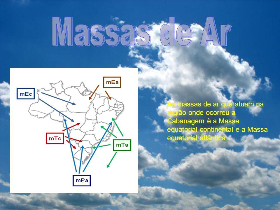 As massas de ar que atuam na região onde ocorreu a Cabanagem è a Massa equatorial continental e a Massa equatorial atlântica.