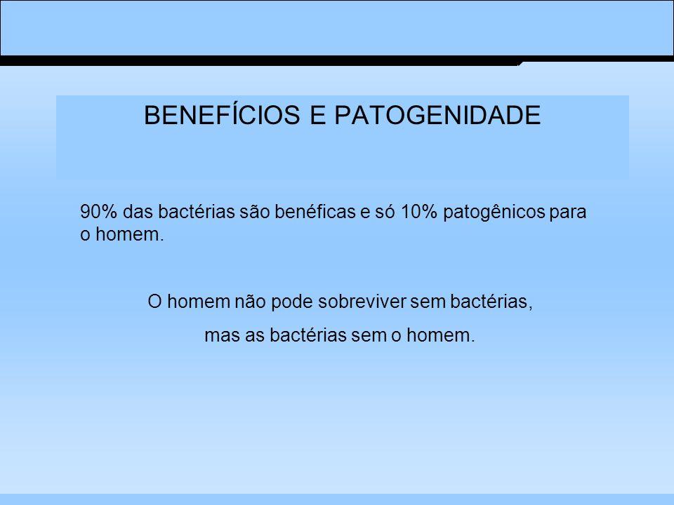 BENEFÍCIOS E PATOGENIDADE 90% das bactérias são benéficas e só 10% patogênicos para o homem. O homem não pode sobreviver sem bactérias, mas as bactéri