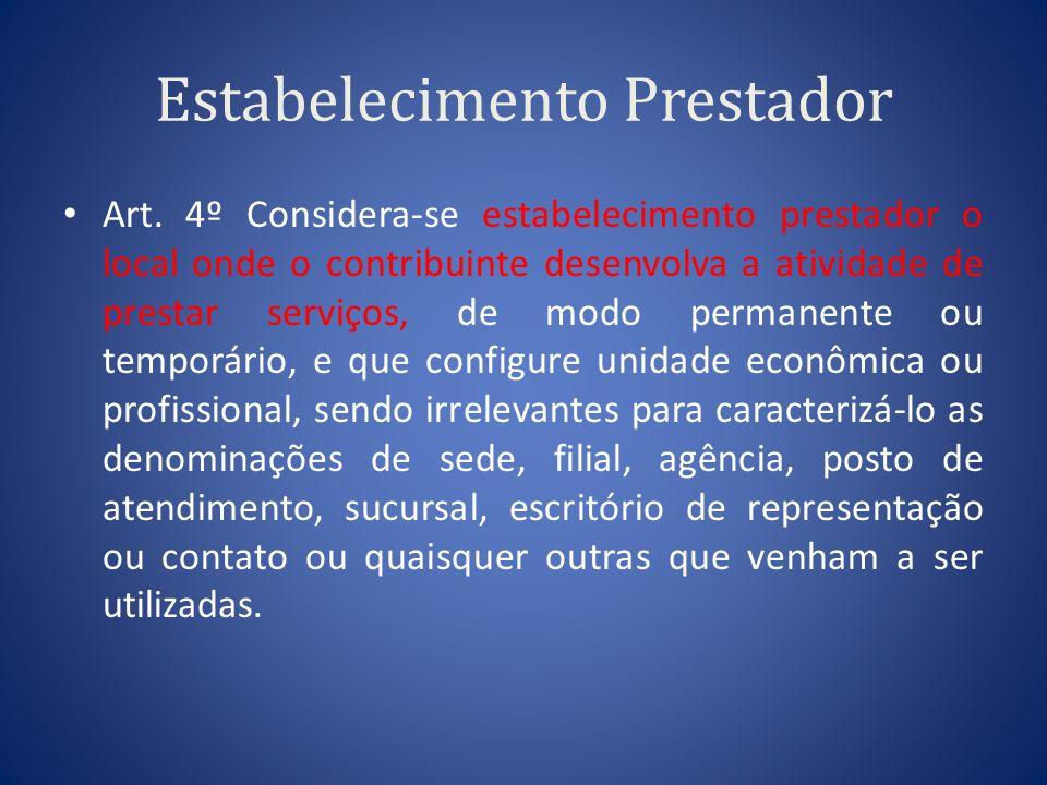 Estabelecimento Prestador Art. 4º Considera-se estabelecimento prestador o local onde o contribuinte desenvolva a atividade de prestar serviços, de mo