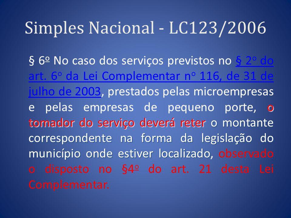 Simples Nacional - LC123/2006 o tomador do serviço deverá reter o montante correspondente na forma da legislação do município onde estiver localizado
