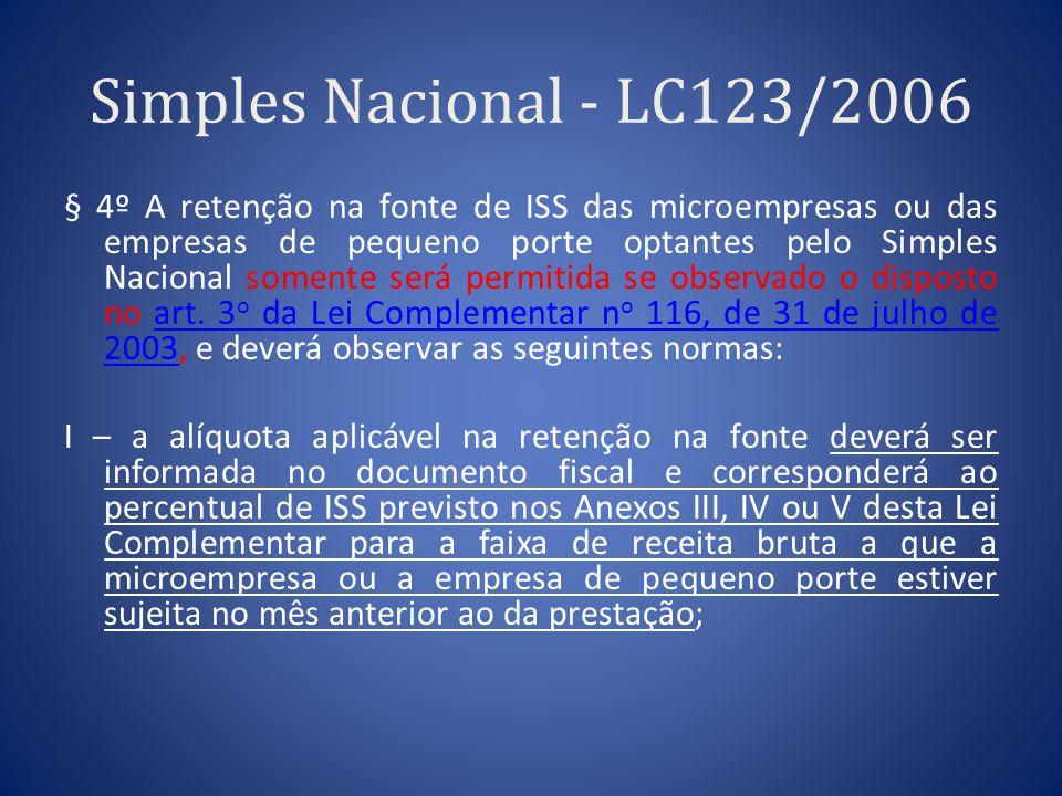 Simples Nacional - LC123/2006 § 4º A retenção na fonte de ISS das microempresas ou das empresas de pequeno porte optantes pelo Simples Nacional soment