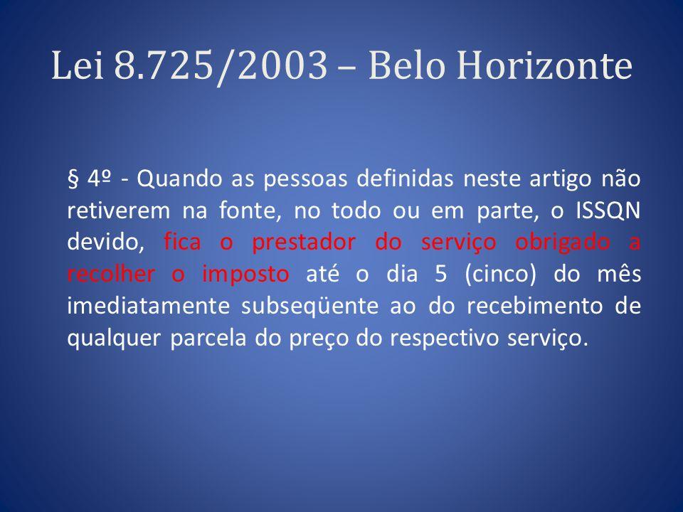 Lei 8.725/2003 – Belo Horizonte § 4º - Quando as pessoas definidas neste artigo não retiverem na fonte, no todo ou em parte, o ISSQN devido, fica o pr