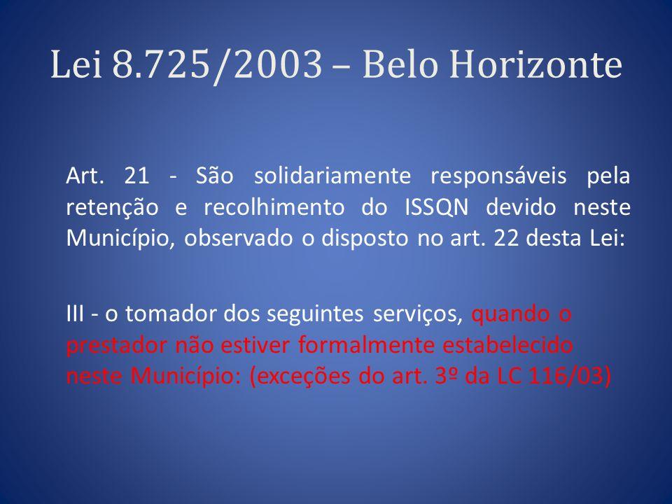 Lei 8.725/2003 – Belo Horizonte Art. 21 - São solidariamente responsáveis pela retenção e recolhimento do ISSQN devido neste Município, observado o di