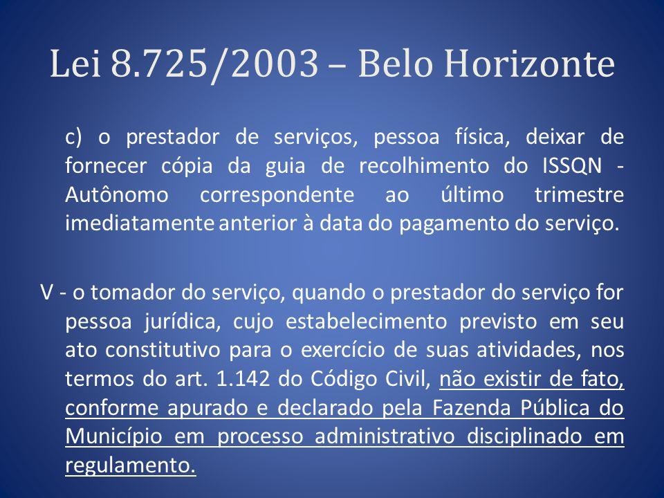 Lei 8.725/2003 – Belo Horizonte c) o prestador de serviços, pessoa física, deixar de fornecer cópia da guia de recolhimento do ISSQN - Autônomo corres