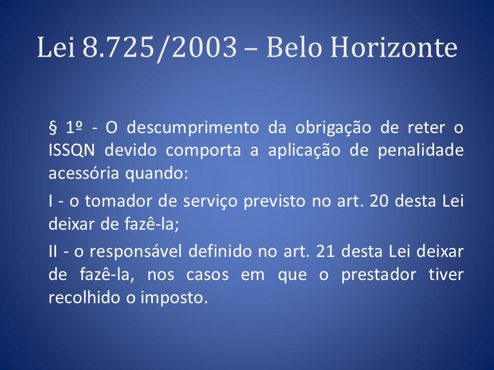 Lei 8.725/2003 – Belo Horizonte § 1º - O descumprimento da obrigação de reter o ISSQN devido comporta a aplicação de penalidade acessória quando: I -