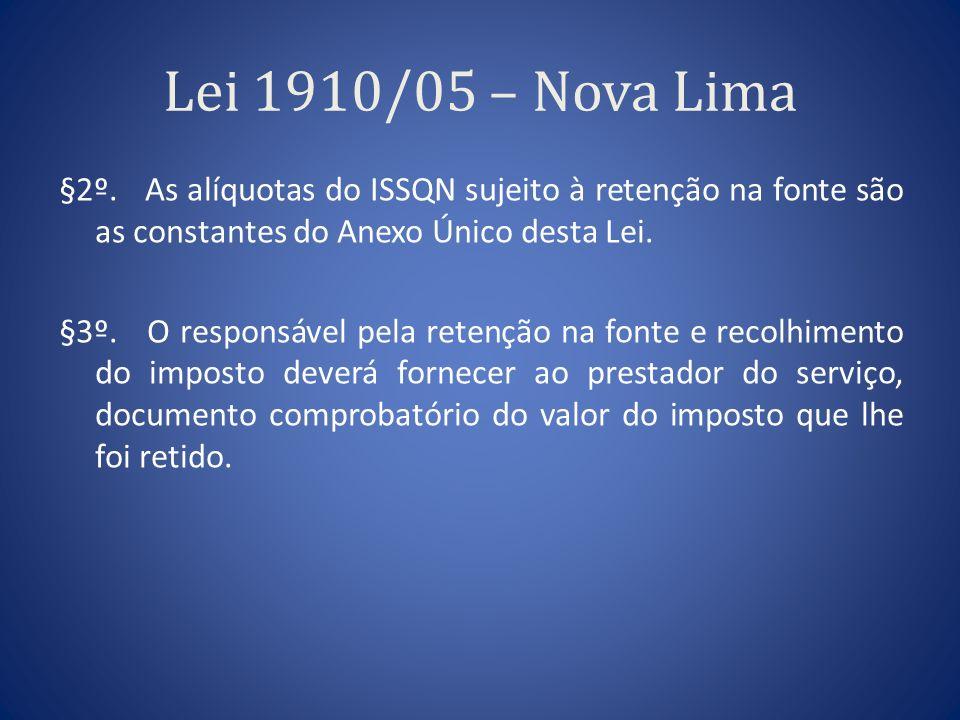 Lei 1910/05 – Nova Lima §2º. As alíquotas do ISSQN sujeito à retenção na fonte são as constantes do Anexo Único desta Lei. §3º. O responsável pela ret