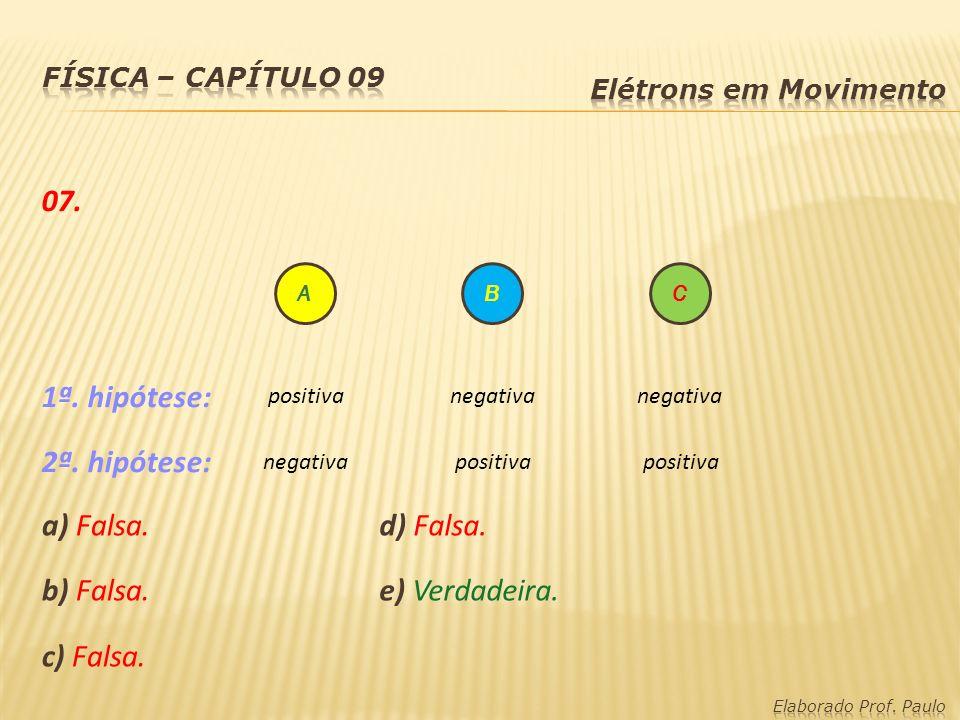 a) Falsa. b) Falsa. c) Falsa. ABC negativa positiva negativa 07. 1ª. hipótese: 2ª. hipótese: d) Falsa. e) Verdadeira.