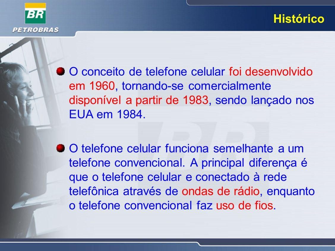 Histórico O conceito de telefone celular foi desenvolvido em 1960, tornando-se comercialmente disponível a partir de 1983, sendo lançado nos EUA em 19