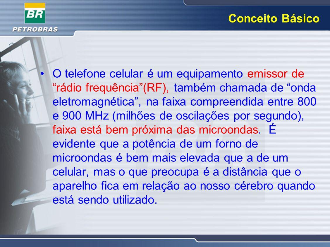 Conceito Básico O telefone celular é um equipamento emissor de rádio frequência(RF), também chamada de onda eletromagnética, na faixa compreendida ent