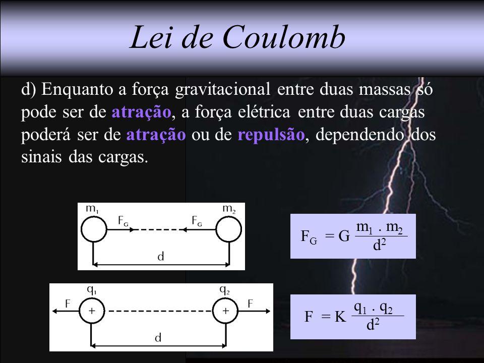 d) Enquanto a força gravitacional entre duas massas só pode ser de atração, a força elétrica entre duas cargas poderá ser de atração ou de repulsão, d