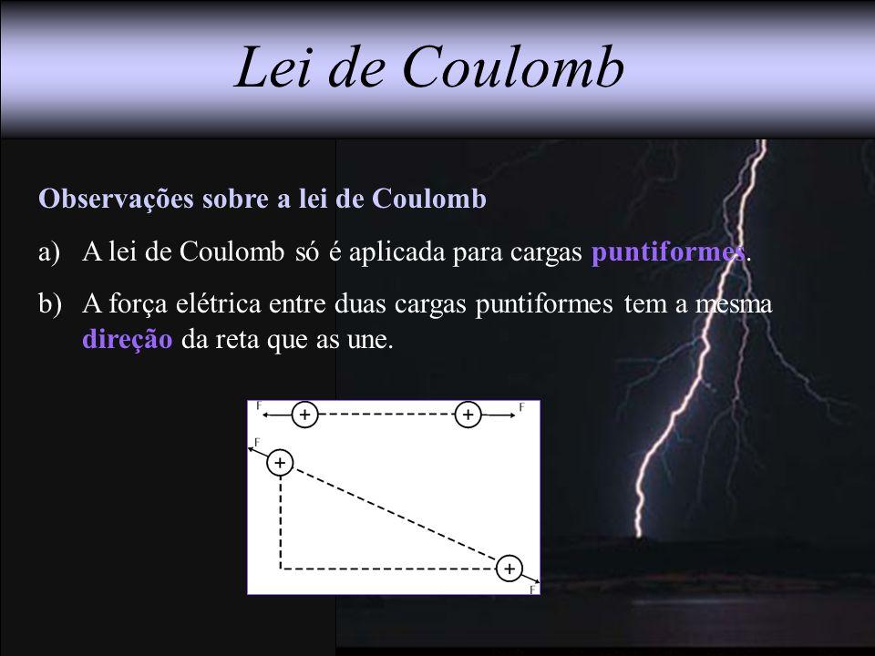 Lei de Coulomb Observações sobre a lei de Coulomb a)A lei de Coulomb só é aplicada para cargas puntiformes. b)A força elétrica entre duas cargas punti