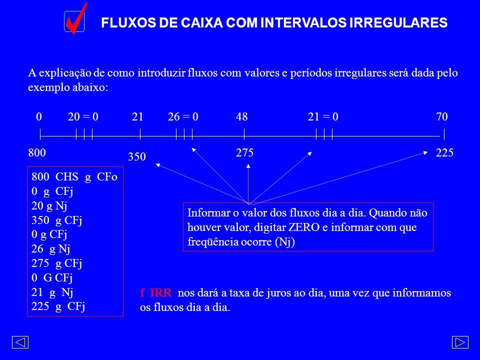 FLUXOS DE CAIXA COM INTERVALOS IRREGULARES 0214870 A explicação de como introduzir fluxos com valores e períodos irregulares será dada pelo exemplo ab