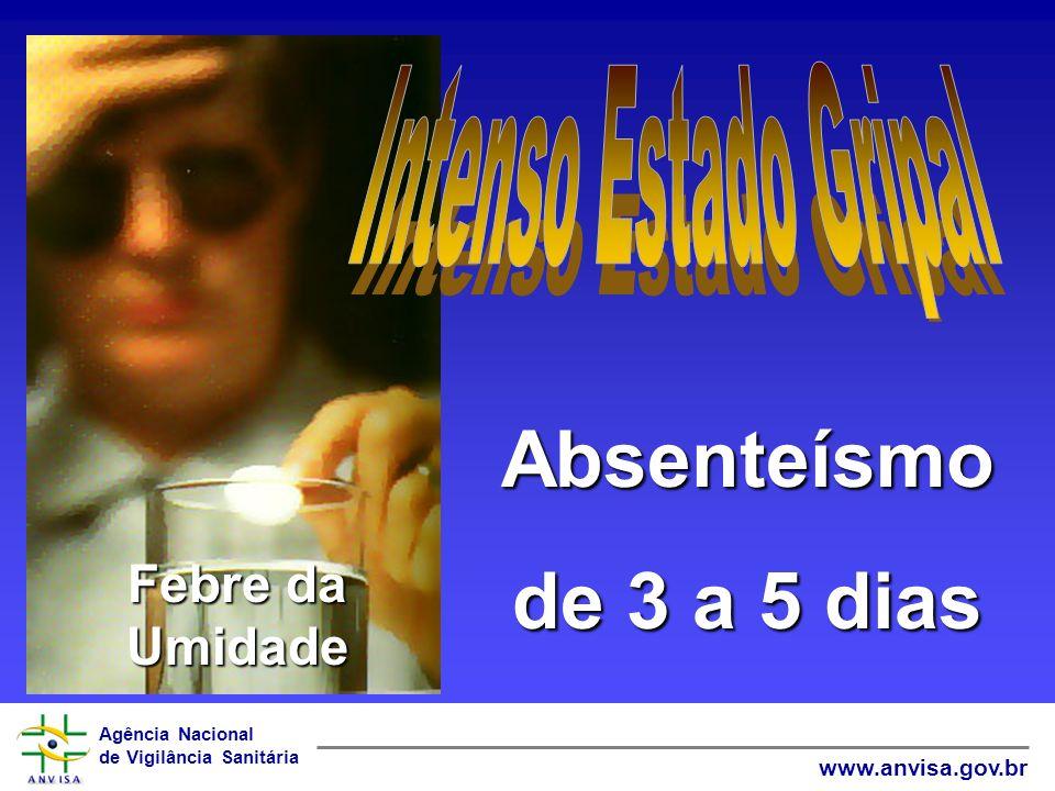 Agência Nacional de Vigilância Sanitária www.anvisa.gov.br Absenteísmo de 3 a 5 dias Febre da Umidade