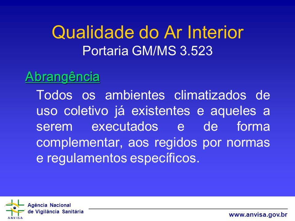 Agência Nacional de Vigilância Sanitária www.anvisa.gov.br Qualidade do Ar Interior Portaria GM/MS 3.523 Abrangência Todos os ambientes climatizados d