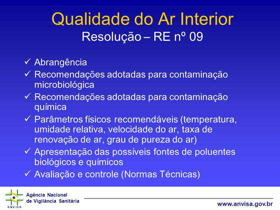 Agência Nacional de Vigilância Sanitária www.anvisa.gov.br Qualidade do Ar Interior Resolução – RE nº 09 Abrangência Recomendações adotadas para conta