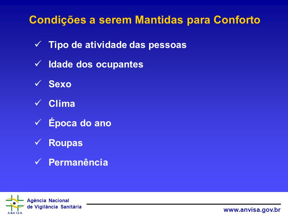 Agência Nacional de Vigilância Sanitária www.anvisa.gov.br Condições a serem Mantidas para Conforto Tipo de atividade das pessoas Idade dos ocupantes