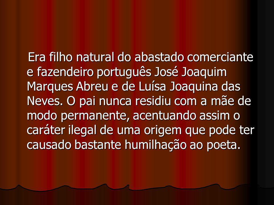 Era filho natural do abastado comerciante e fazendeiro português José Joaquim Marques Abreu e de Luísa Joaquina das Neves. O pai nunca residiu com a m