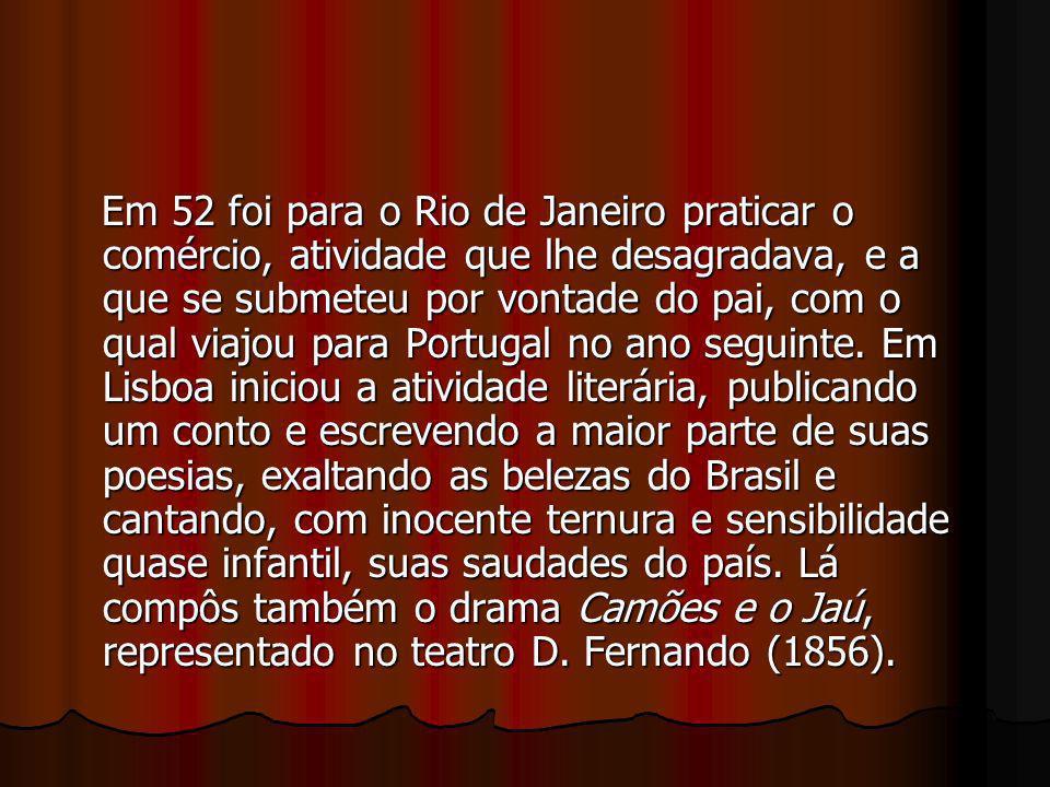Em 52 foi para o Rio de Janeiro praticar o comércio, atividade que lhe desagradava, e a que se submeteu por vontade do pai, com o qual viajou para Por