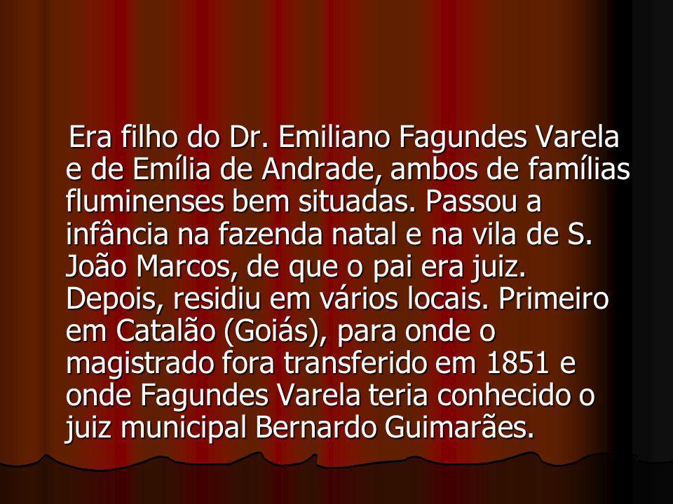 Era filho do Dr. Emiliano Fagundes Varela e de Emília de Andrade, ambos de famílias fluminenses bem situadas. Passou a infância na fazenda natal e na