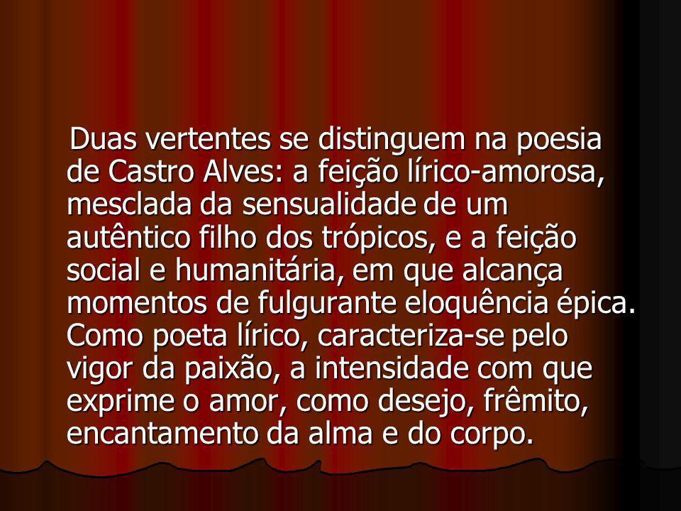 Duas vertentes se distinguem na poesia de Castro Alves: a feição lírico-amorosa, mesclada da sensualidade de um autêntico filho dos trópicos, e a feiç